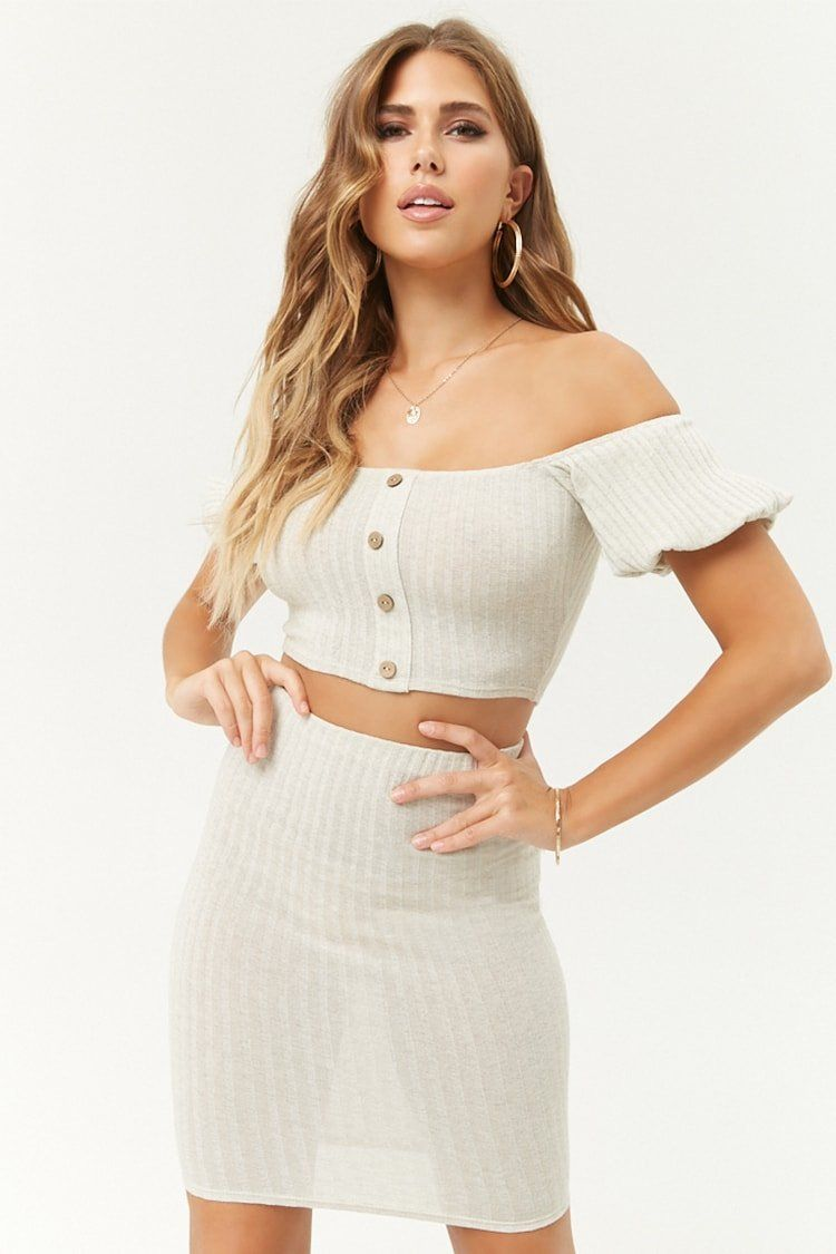 fe6f781bc6 Product Name:Ribbed Off-the-Shoulder Crop Top & Bodycon Skirt Set,  Category:CLEARANCE_ZERO, Price:35