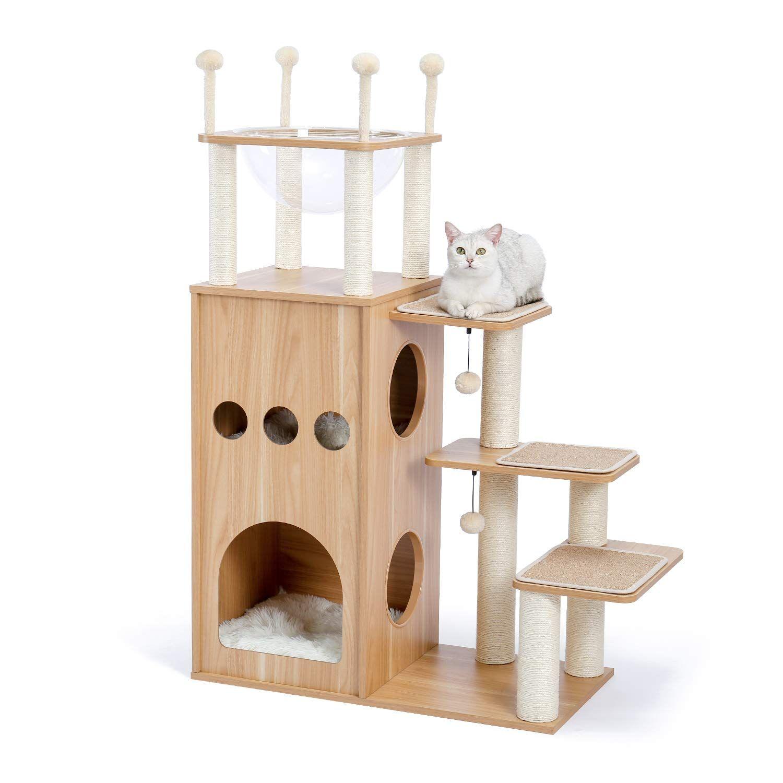 Amazon Amazonブランド Umi ウミ 木製キャットタワー 木目調猫タワー 宇宙船ハンモック付き 猫ハウス二つ 多頭飼い 運動不足解消 頑丈耐久 お手入れ簡単 中敷クッション付き ベージュ Umi ウミ キャットタワー 通販 2021 ハンモック 猫タワー 猫ハウス