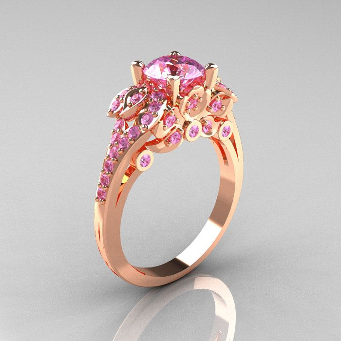 Clic 14k White Gold 1 0 Ct Light Pink Shire Solitaire Wedding Ring R203 14kwglps
