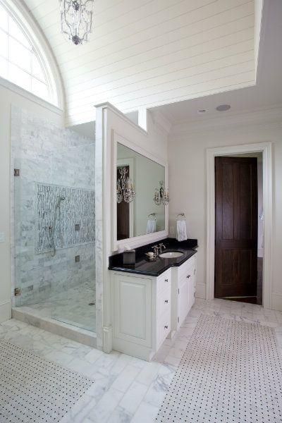 Walk In Shower Behind Vanity Wall Amazing Bathrooms