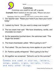 Comma Worksheet 5 | Worksheets
