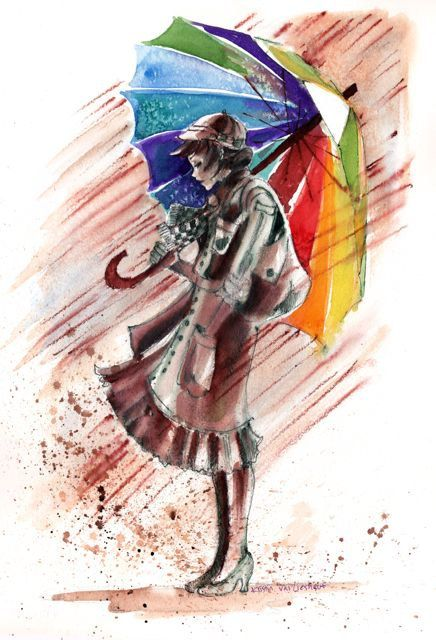 """Original Limited Edition Art PRINT Mixed Media Painting of Girl with Colorful Umbrella Art/Decoration 8""""X11""""by Kristin Glaze van Lieshout"""