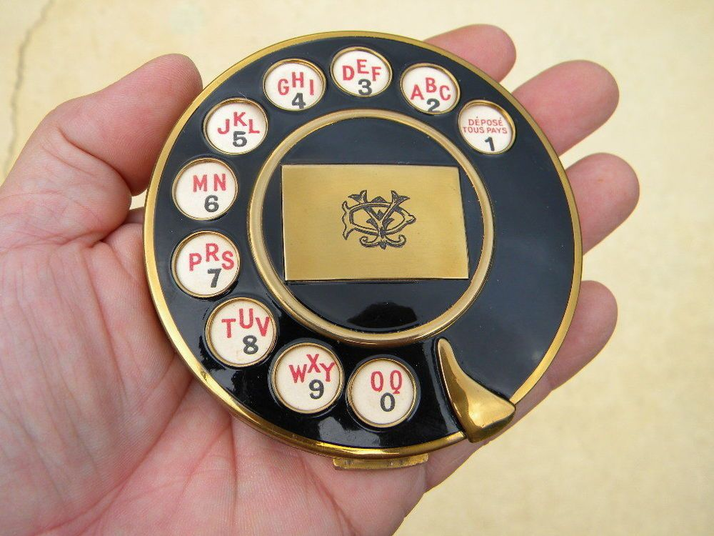RARE VINTAGE Telephone Rotary Dial FIGURAL MAKE UP COMPACT - Made ...