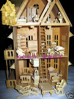 Doll Houses  Sale on Wooden Dollhouse 21 Doll Wood House 6 Rooms   Furniture For Sale