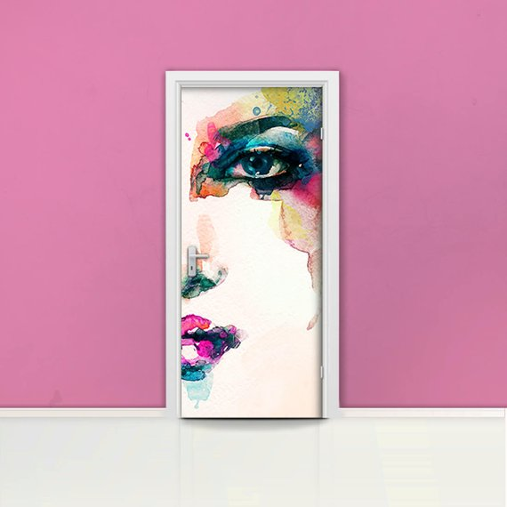 Watercolor Face Of Woman Door Mural Self Adhesive Door Wrap