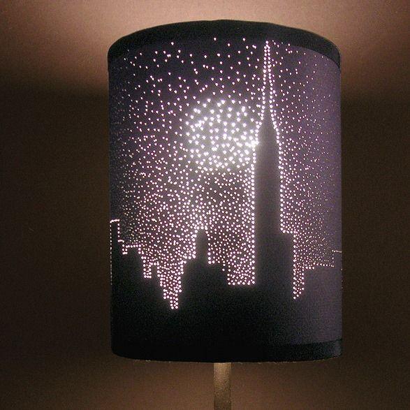 Dark lamp shade, use push pins to make stars and city outline ...