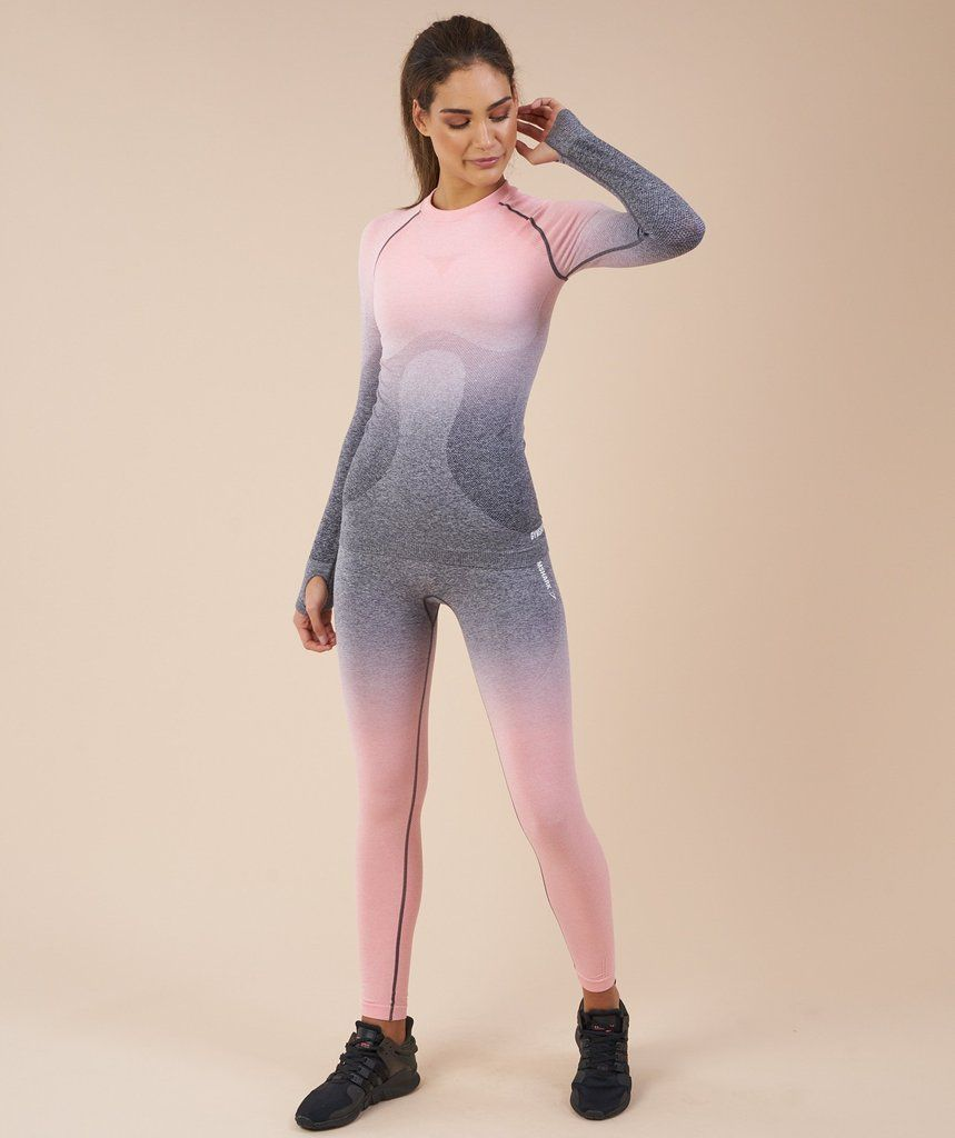 33311f026f1484 Gymshark Ombre Seamless Long Sleeve Top - Peach Pink/Charcoal 1 ...