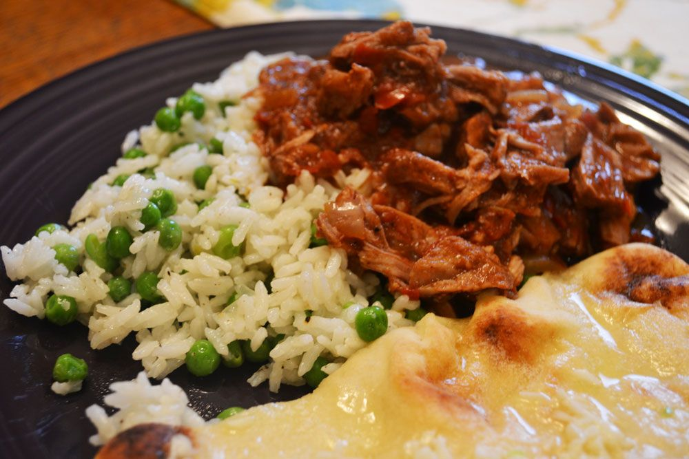 Slow Cooker pork vindaloo with naan and rice pilaf | The ...