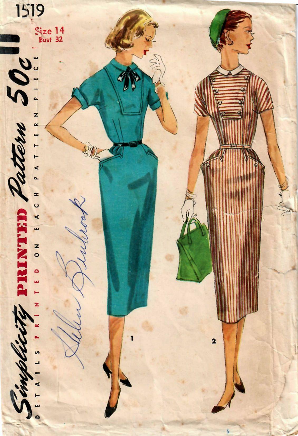 1950s Simplicity 1519 Vintage Sewing Pattern Misses Slim Dress, Sheath, Peg Top Dress, Afternoon Dress Size 14 Bust 32 by midvalecottage on Etsy