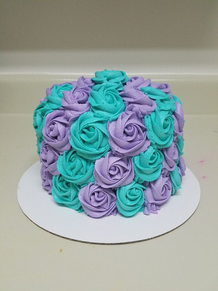 Teal And Purple Buttercream Rosette Cake Contact Heather