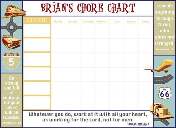 Totally Transportation Custom Chore Chart | ScriptureArt