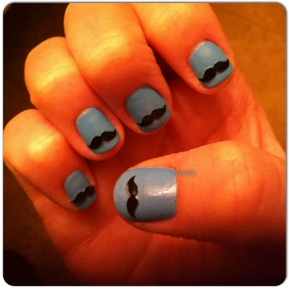 Mustache nails for my mustache themed baby shower (nail decals bought from Etsy)
