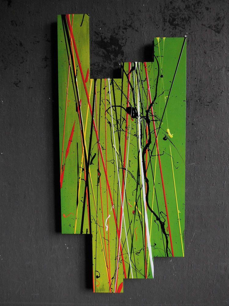 Original Holz Wandgebilde Xl Abstrakt Malerei Design Modern Bild