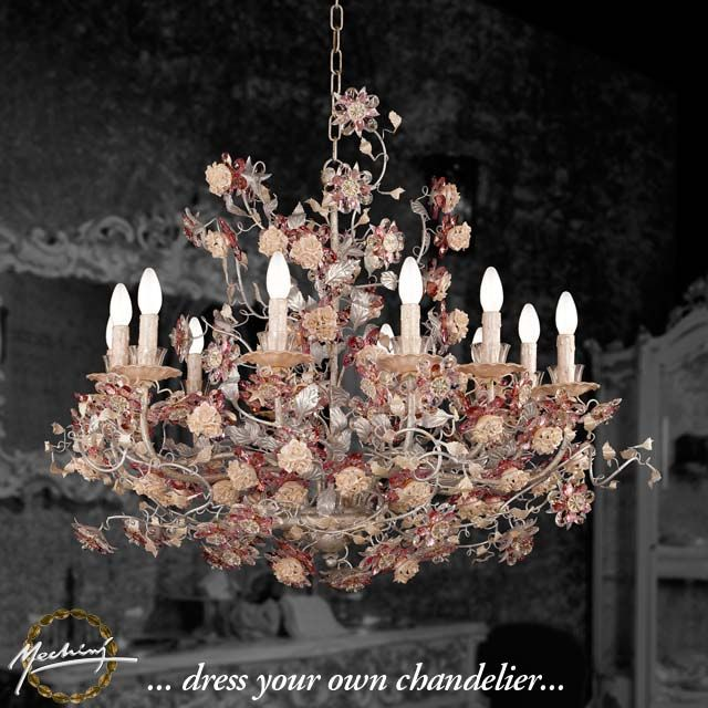 Designer Chandeliers And High Quality Italian Crystal Lamps L297 12 Lights Chandelier In Wrought Iron With Clear Coloured Bohemian