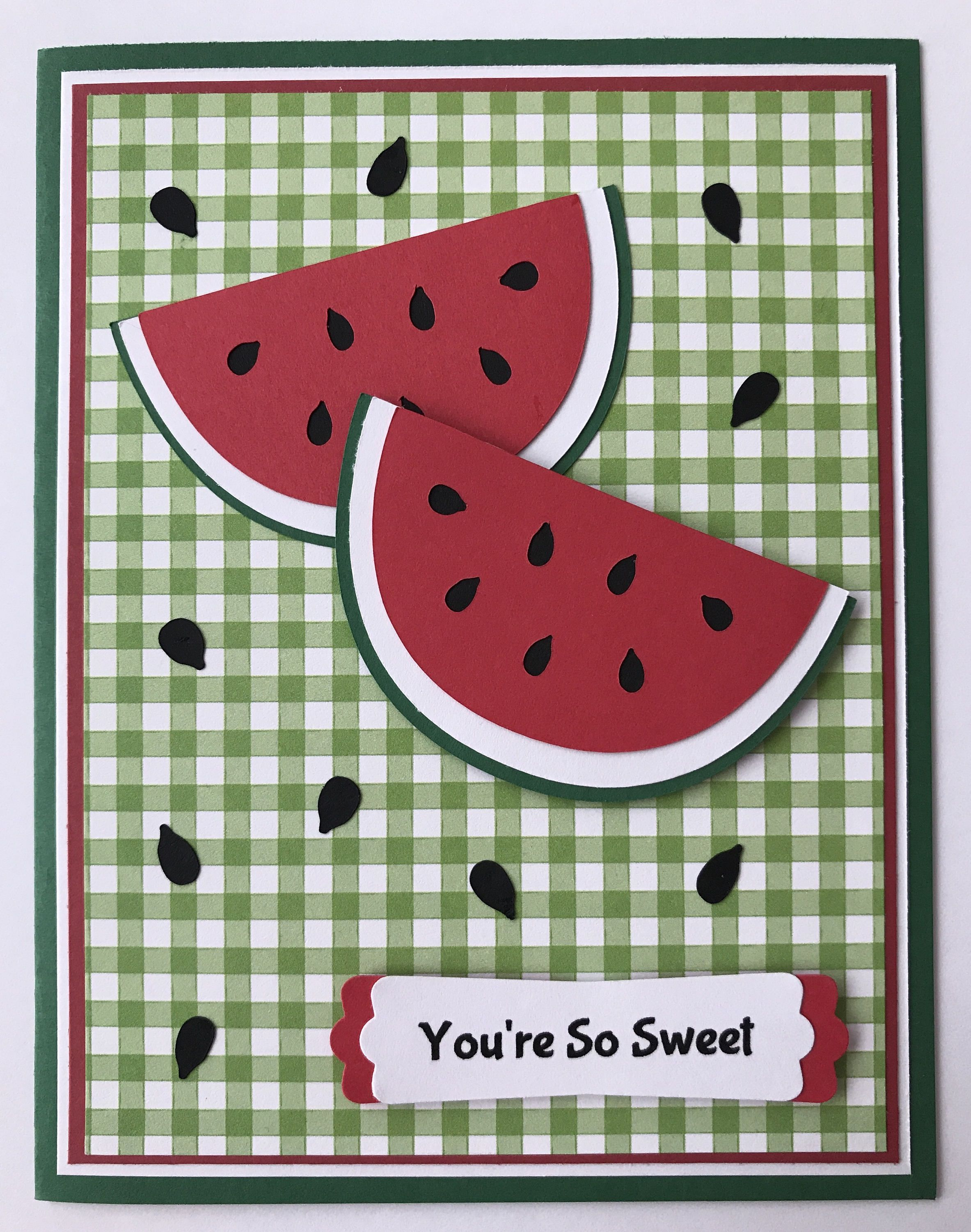 Handmade Watermelon Thank You Card You Re So Etsy Handmade Thank You Cards Card Patterns Creative Cards