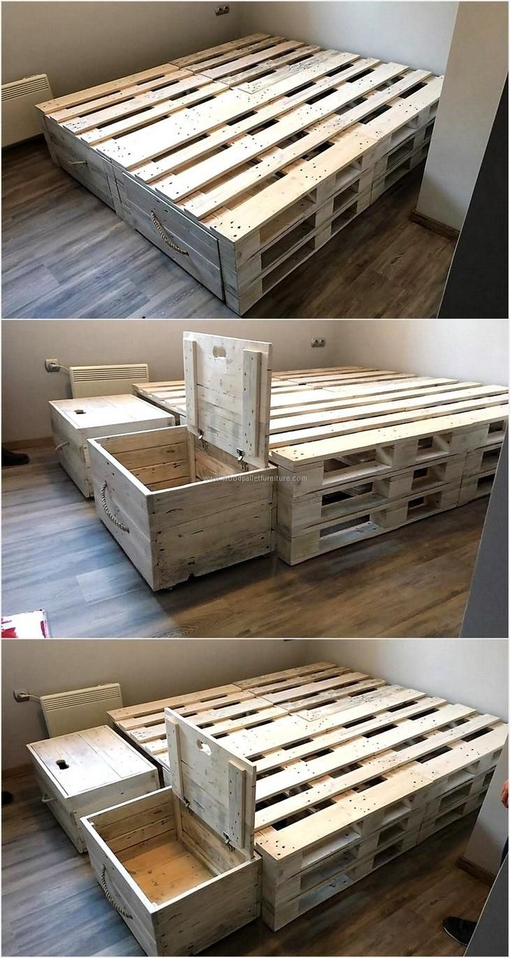 Admirable ideas for pallets recycling bed frame plans for Pallet bed frame with side tables