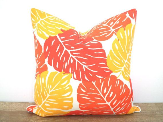 Palm Leaf Outdoor Pillow Case 18x18 Orange Outdoor Cushion For Outdoor Furniture Tropical Pillow Large Leaf Print