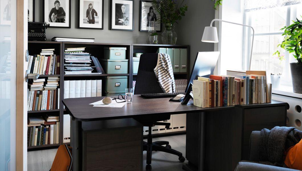 kleines verlagsb ro u a eingerichtet mit bekant schreibtisch in schwarzbraun schwarz galant. Black Bedroom Furniture Sets. Home Design Ideas