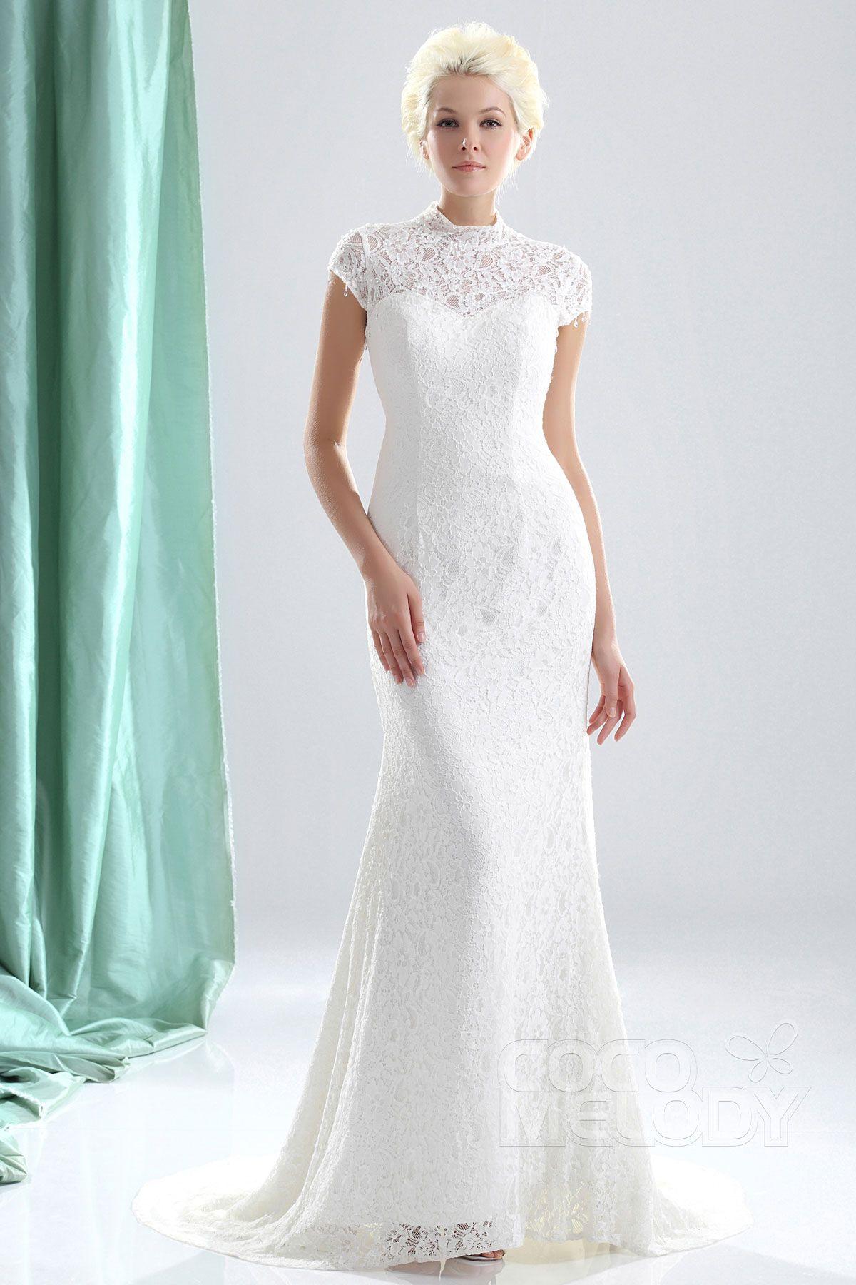 Perfect sheathcolumn high neck court train lace wedding dress