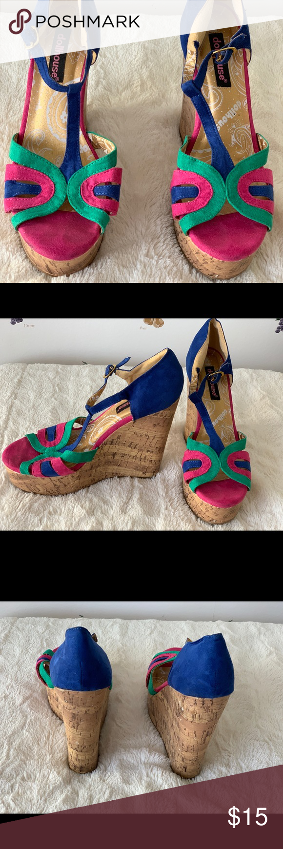 c8f9db6474 Multi Color Wedge- Size 7 Multi Color Wedge- Size 7 Suede Good condition  Dollhouse