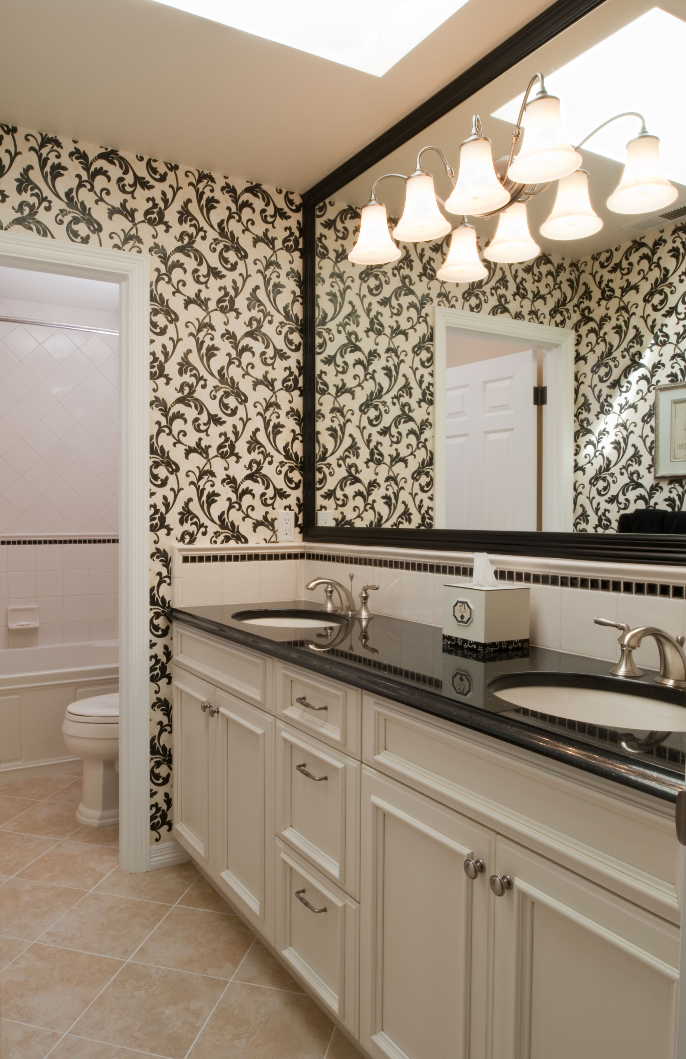 Wallpaper, the ultimate accent. | Black granite ... on Bathroom Ideas With Black Granite Countertops  id=98584