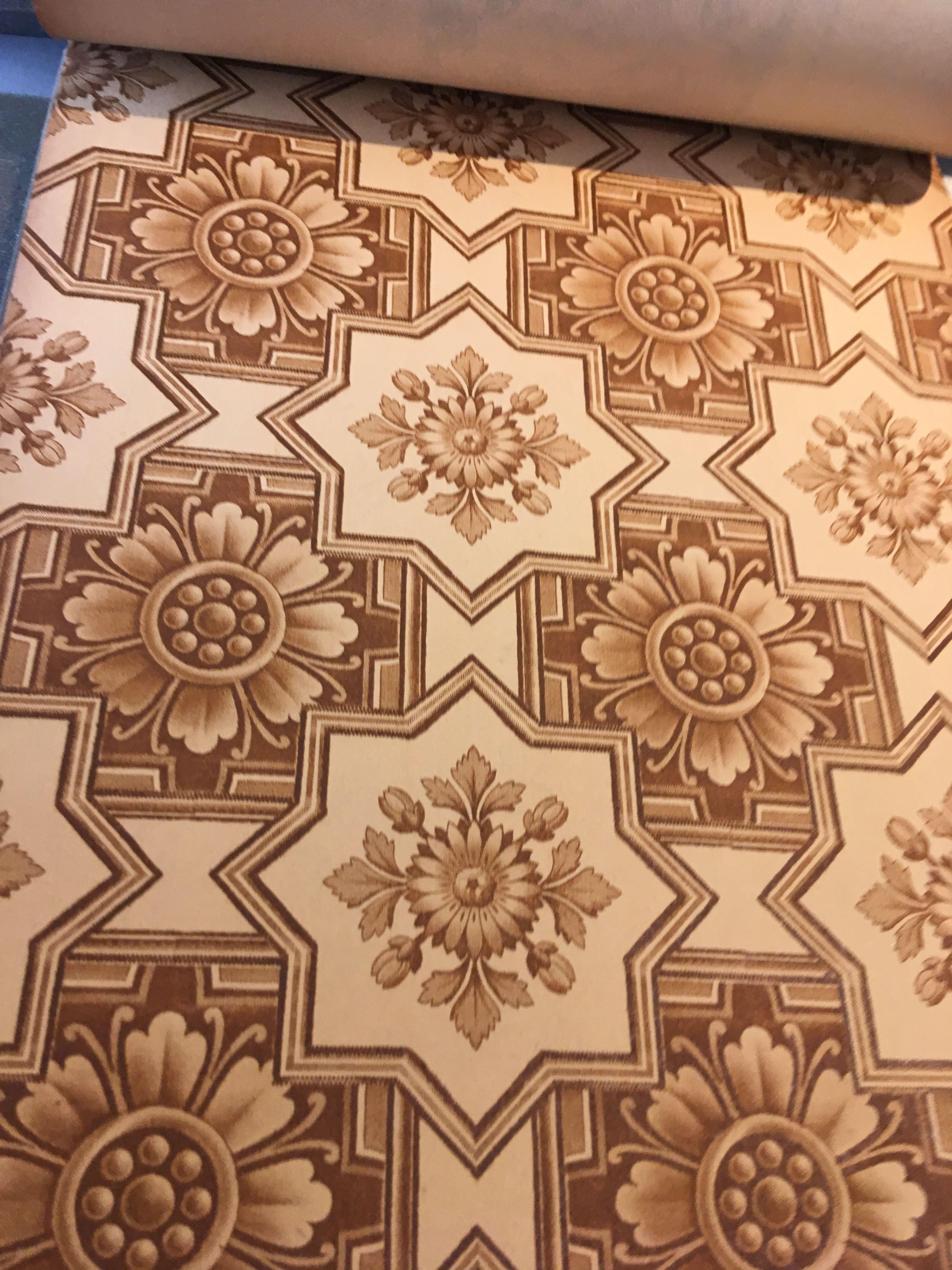 1914 antique Edwardian sanitary wallpaper with tile design