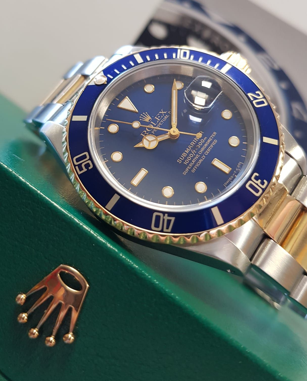 Preowned Rolex Submariner Steel & Gold Blue Dial 16613