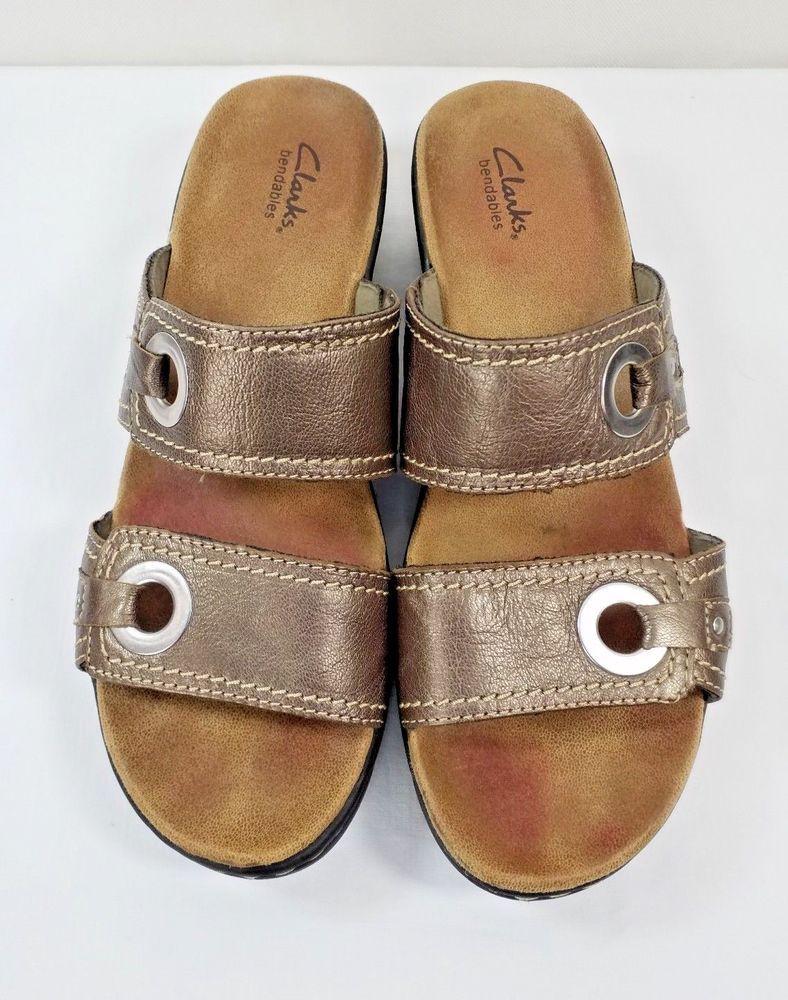 06c54d0d7 Clarks Bronze Lexi Willow Womens Leather Slip On Sandals Sz 9.5 M Grommet  Detail  Clarks  Slides  Casual