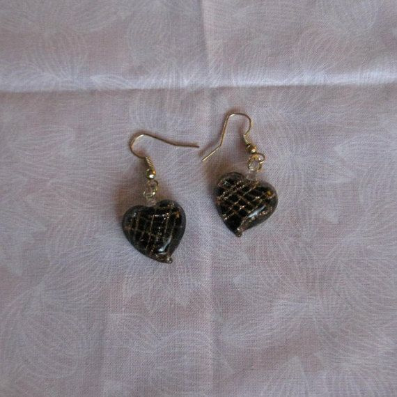 Gorgeous black and gold glass heart by GypsyGirlCreations21