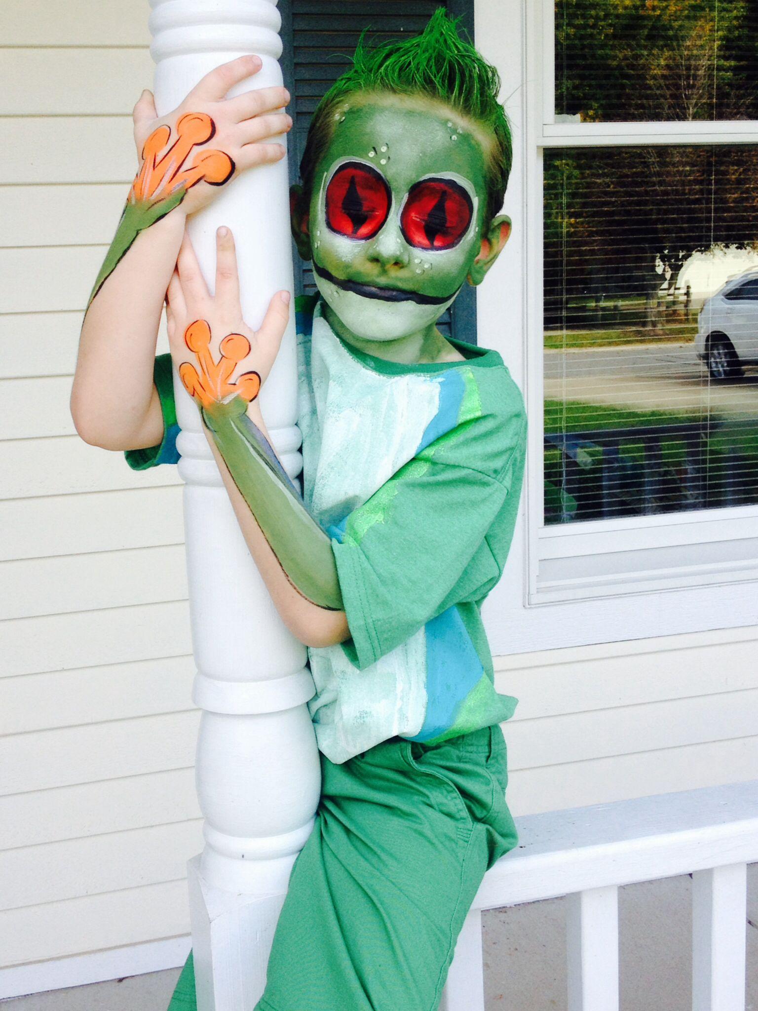 Homemade green eyed tree frog costume
