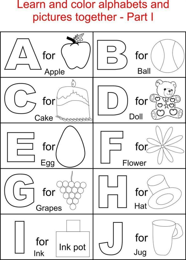 Coloring Sheets For Kindergarten For Alphabets Alphabet Part I Coloring Printab Kindergarten Coloring Pages Coloring Worksheets For Kindergarten Abc Worksheets