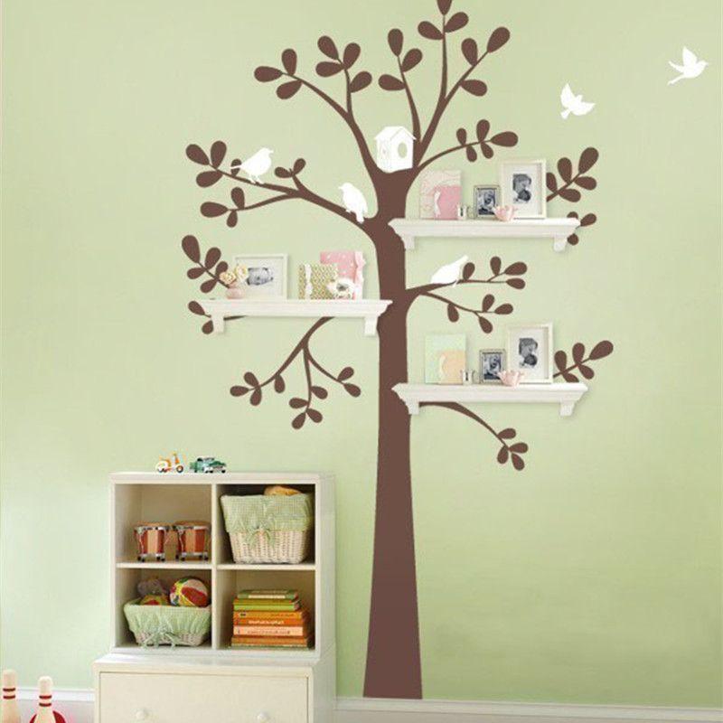 Foam Stickers Babykamer.Shelf Tree With Birds Decals Tree Vinyl Wall Stickers Home Decor