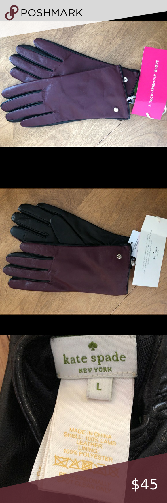 Kate Spade Leather Tech Tip Gloves Nwt In 2020 Kate Spade Leather Leather Gloves