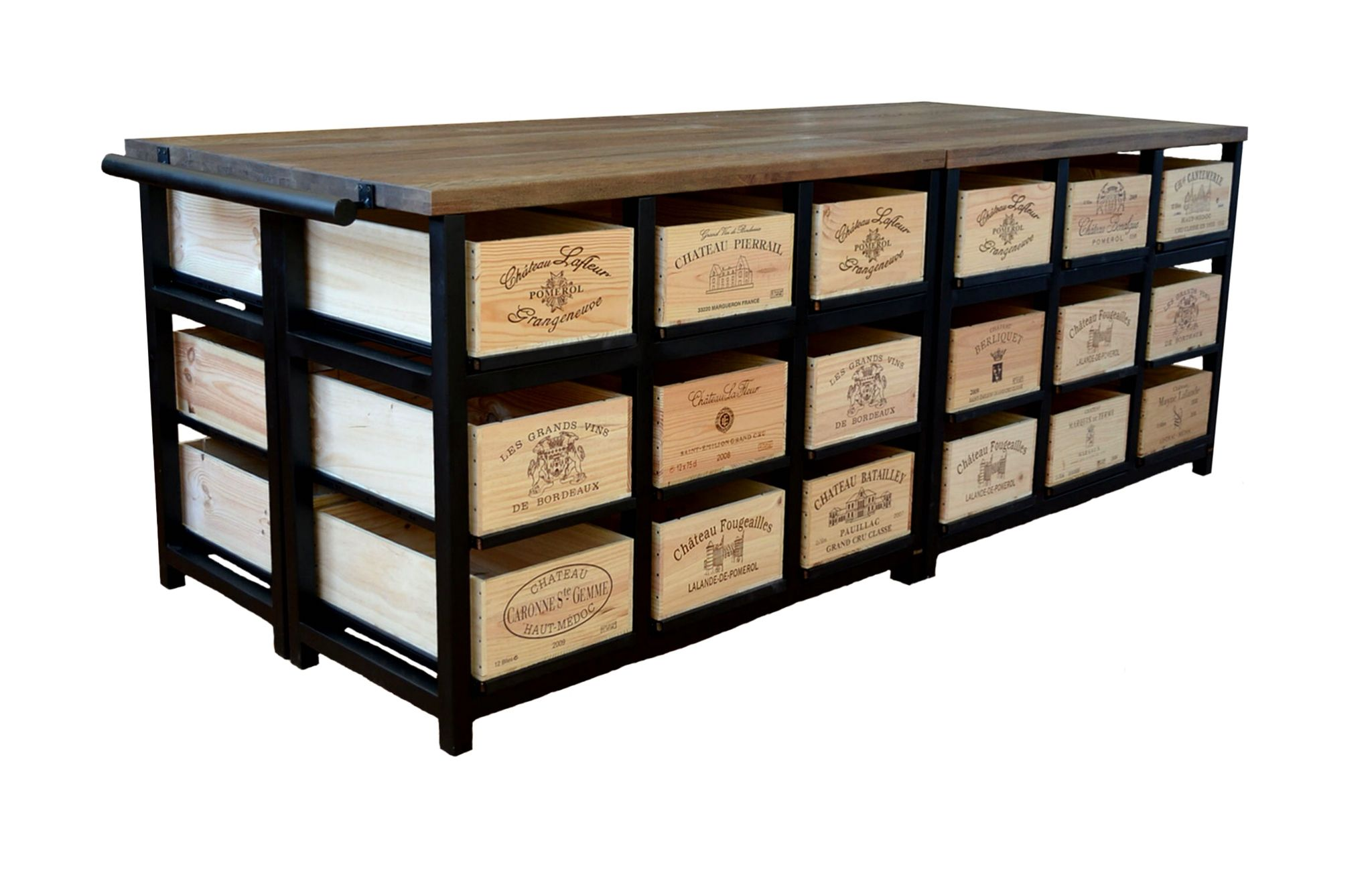 Exceptional 36 Drawer Island With Granit Top Having Sliding Vintage Wine Boxes From  Bordeaux France. Www