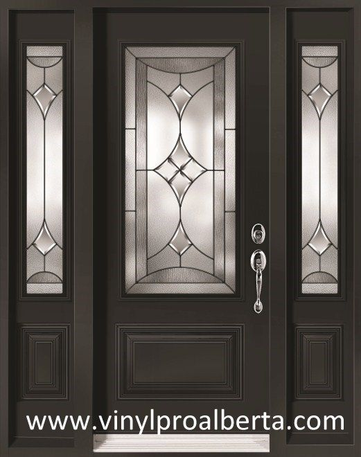 Black Door With Side Light : Cheap entry doors with side lights renoir and steel