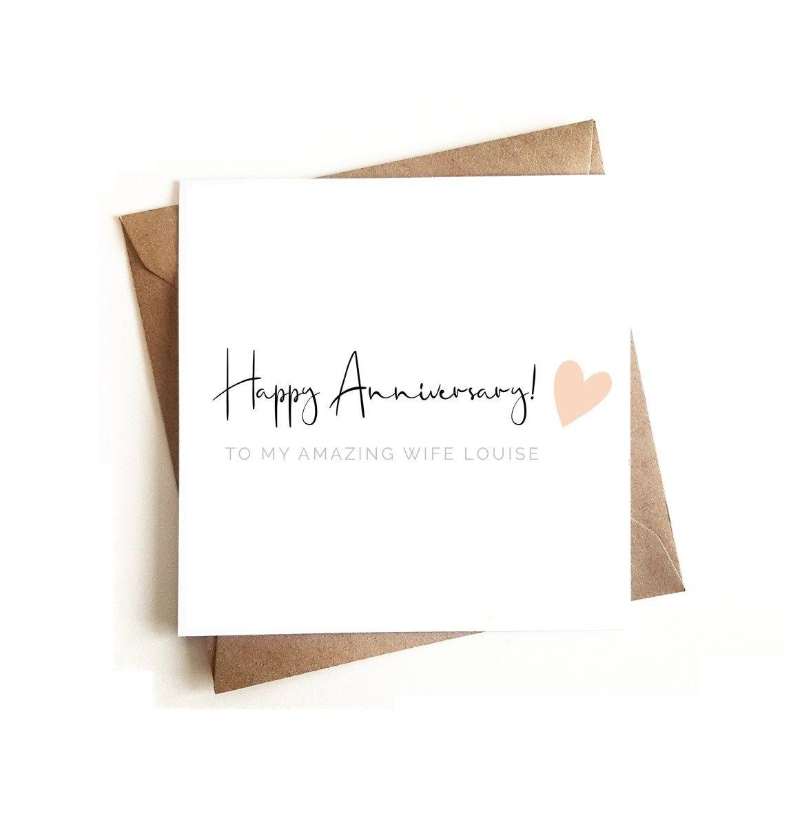 Personalised Anniversary Card Ashley Higgins Design Greeting Cards Personalized Anniversary Cards Personalized Anniversary Anniversary Cards