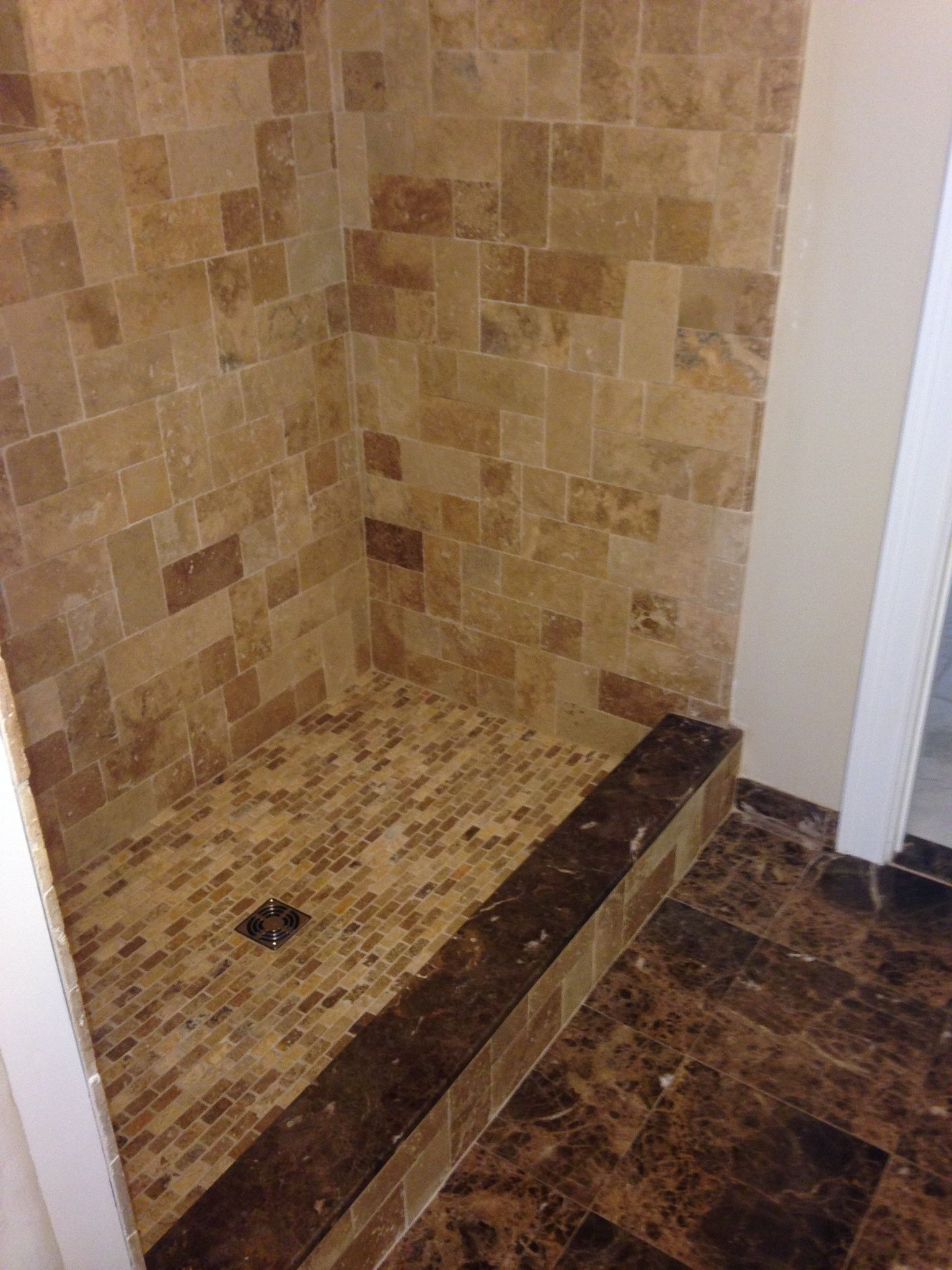 Earthstone Travertine Shower With Tuscany Scabos Mosaic Shower Floor,  Schluter Brushed Nickel Drain And Custom