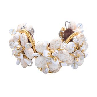 Stoned Sprinkled Flowers Cuff Bangle (White)