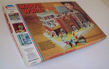 Amsco MARVEL WORLD ADVENTURE PLAYSET! The best super-hero playset ever? Beautiful artwork, incredible design, hours of playability in putting it together then playing with it - working elevator, bust out wall - and all made out of cardboard - and only $6.95 retail! Probably my favorite toy ever.