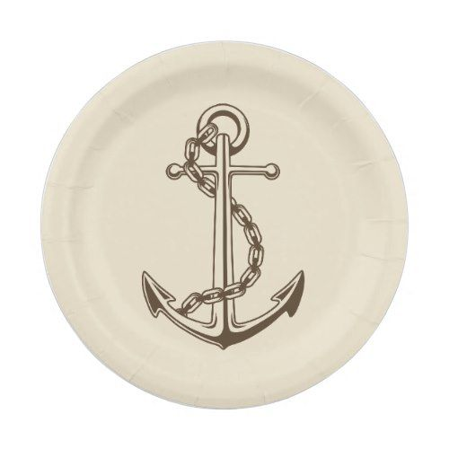 Vintage Nautical Ship Anchor Tan Wedding Party Paper Plate  sc 1 st  Pinterest & Vintage Nautical Ship Anchor Tan Wedding Party Paper Plate | Tan ...