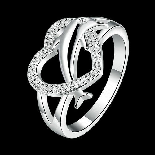 usa women solid cute dolphin silver plated love heart ring jewelry lover gift - Dolphin Wedding Rings
