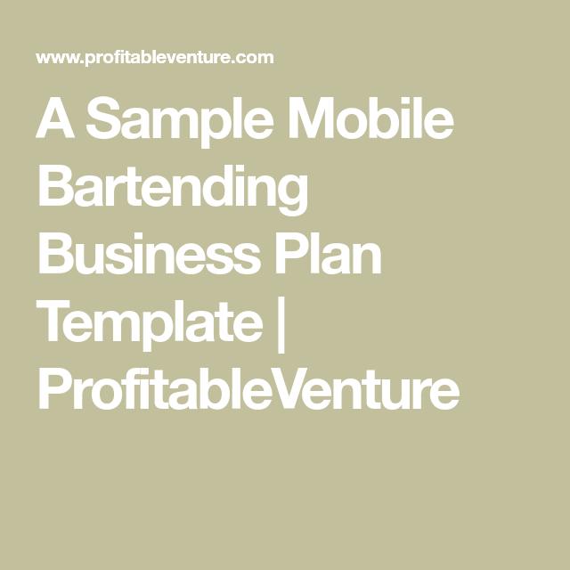 A Sample Mobile Bartending Business Plan Template Profitableventure Travel Bar Bar Catering Bartender