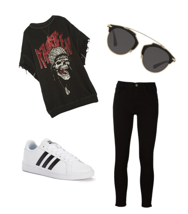 Untitled #3 by madisongharib on Polyvore featuring polyvore, мода, style, R13, Frame, adidas, Christian Dior, fashion and clothing