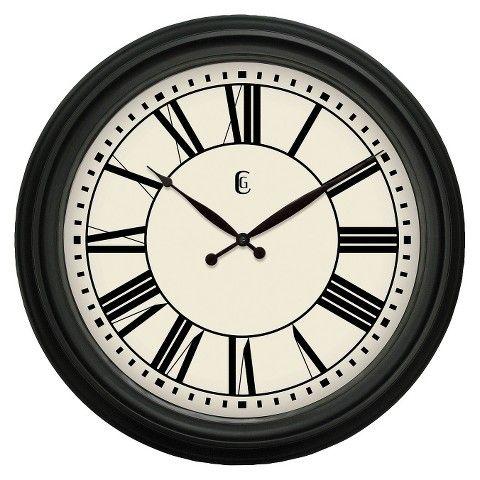 "Geneva Plastic Wall Clock - Black (24"")"