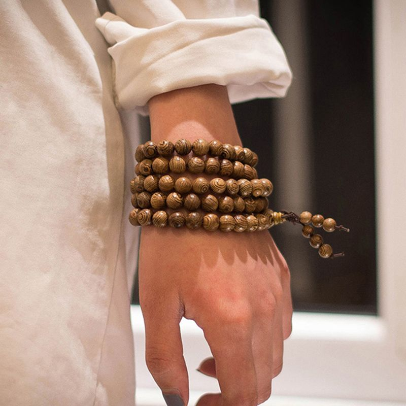 Men/'s Wood Chinese Buddhist Prayer Beads Tibet Mala Charm Lucky Wrist Bracelet O
