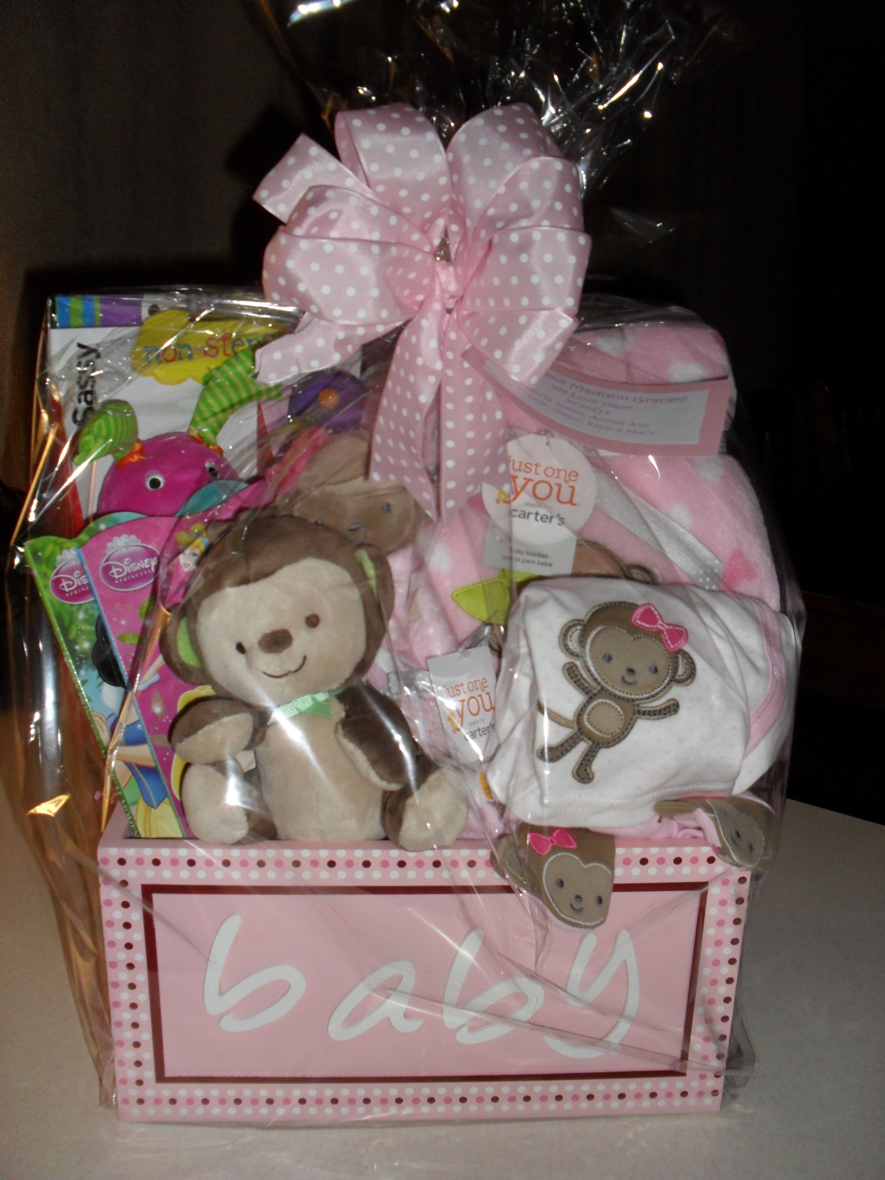 Baby Girl Gift Basket Cellophane Wrapped Gifts Gift Baskets
