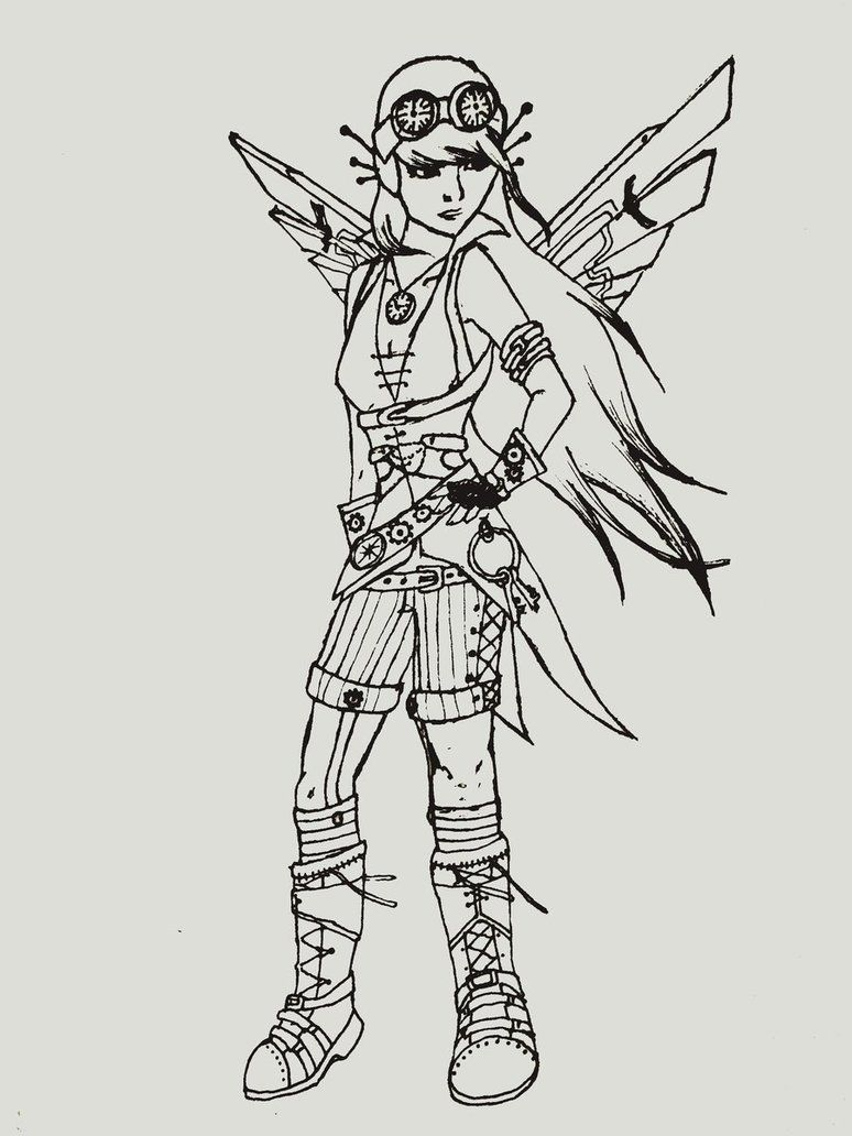 SteamPunk Girl Coloring Page by ~OneLifeRemaining | Steampunkiness ...
