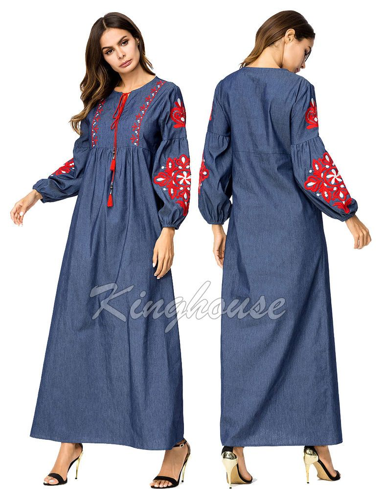 Vintage denim embroidery long sleeve maxi dress flower abaya muslim