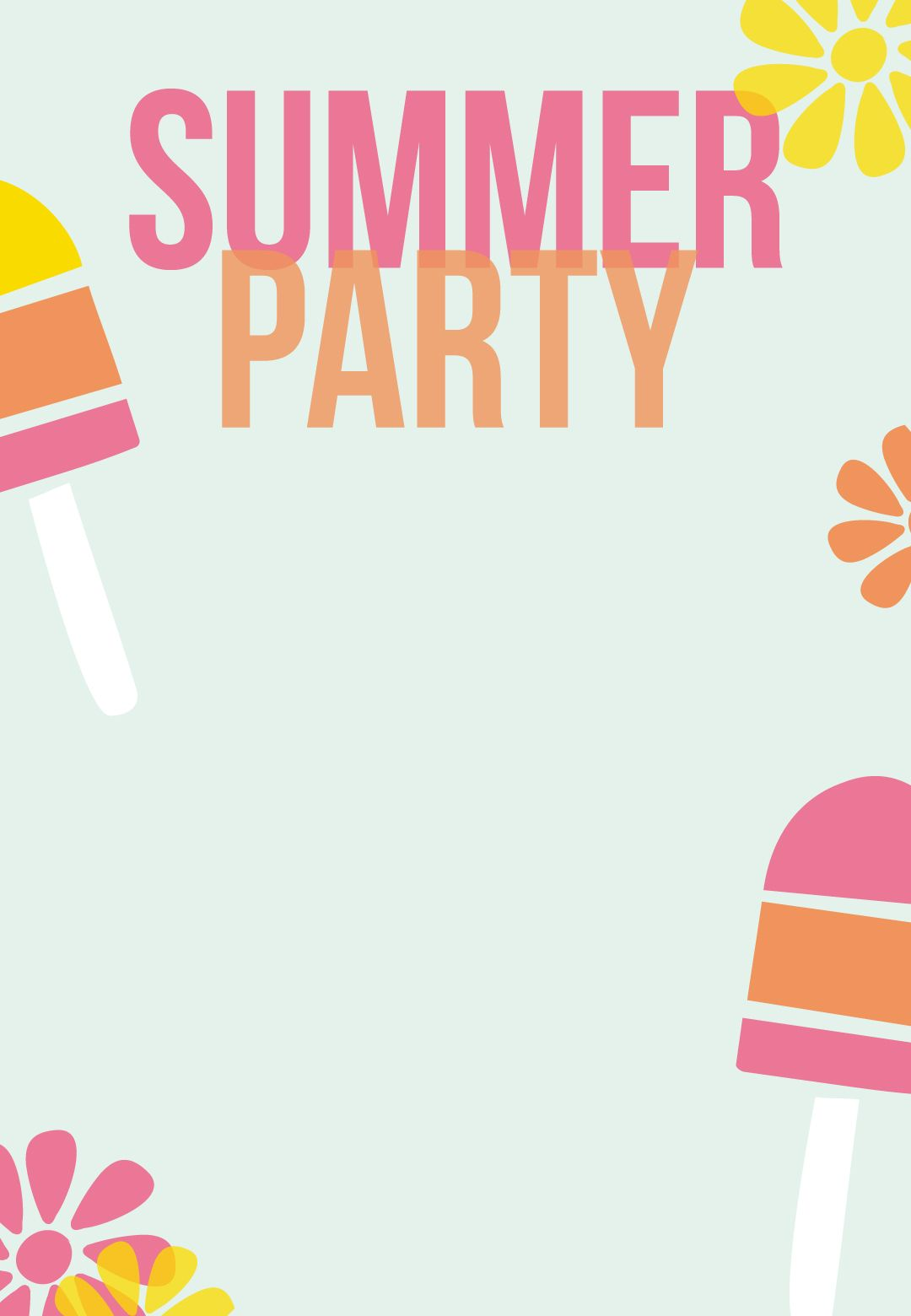Striped Popsicles - Pool Party Invitation Template (Free