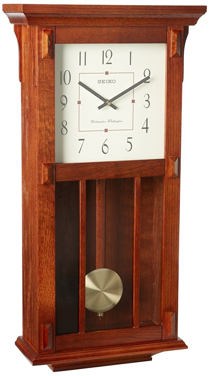 Seiko Wall Clock With Pendulum Dark Brown Case Westminster Whittington Chime Chiming Wall Clocks Pendulum Wall Clock Wall Clock